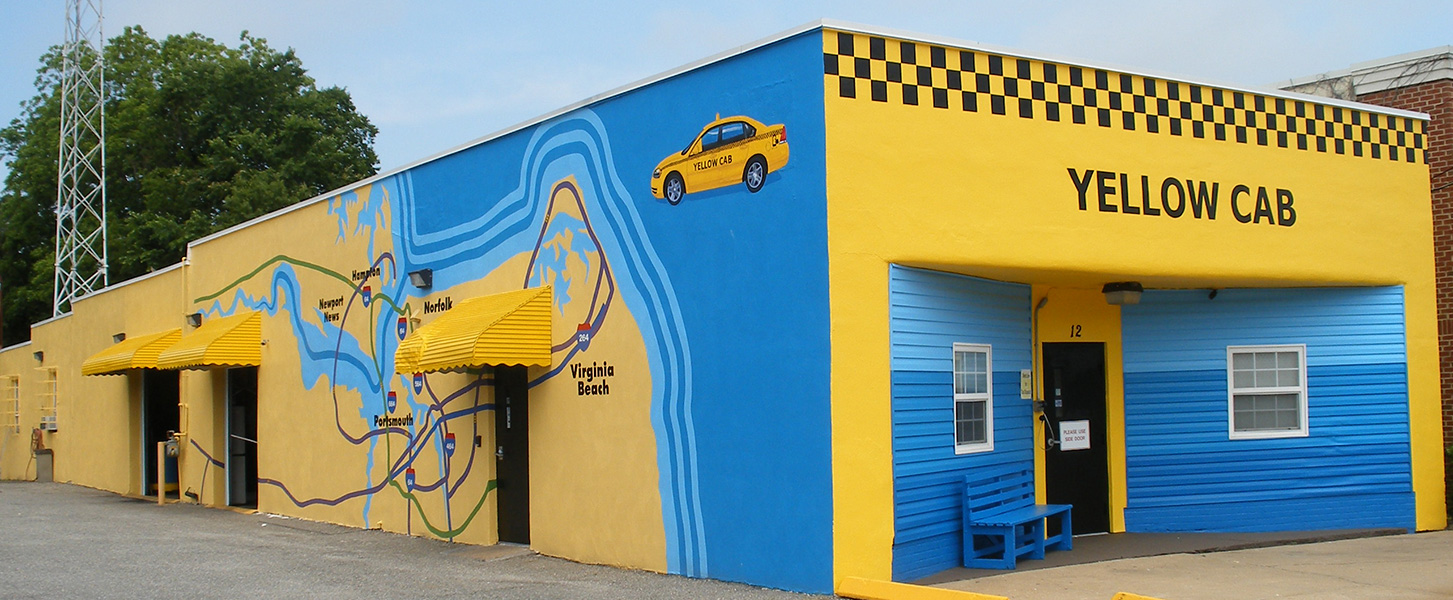 Yellow Cab Mural design by Megan Hodges. Mural painted by John Hickey.